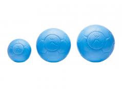 "The size 1 One World Futbol (5.8"" diameter, $15), alongside the size 4 (8.5"" diameter, $39.50) and size 5 (8.75"" diameter, $39.50) versions."