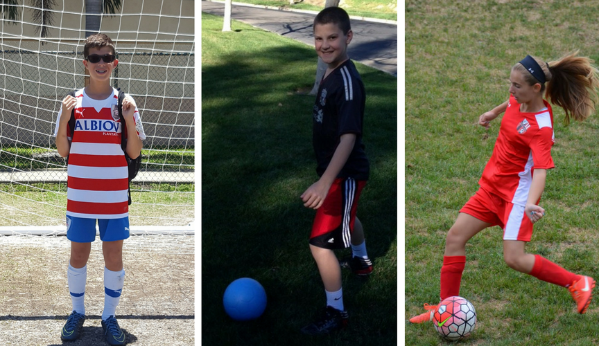 Jake, Noah & Caroline are among our Bar/Bat Mitzvah campaigners who love soccer.