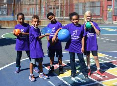 Kayla, Kyle, Imani, Logan and Lauren—students at New York City Public School 9—play fun recess games with Playworks.