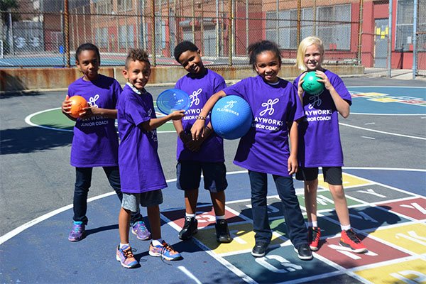 Kayla, Logan, Kyle, Imani and Lauren—students at P.S. 9 in New York City—play fun recess games with Playworks.